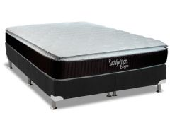 Conjunto Cama Box - Colchão Luckspuma de Molas Bonnel Satisfaction Eclypse + Cama Box Universal Nobuck Black